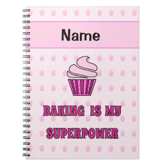 Baking superpower pink cupcakes notebook