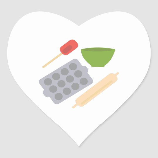 Baking Utensils Heart Sticker