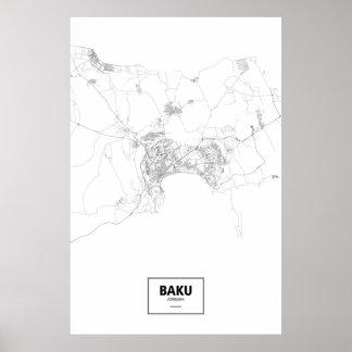 Baku, Azerbaijan (black on white) Poster