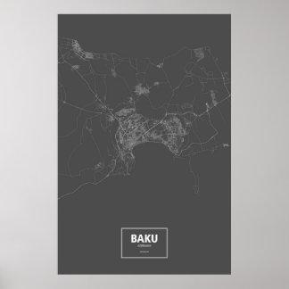Baku, Azerbaijan (white on black) Poster