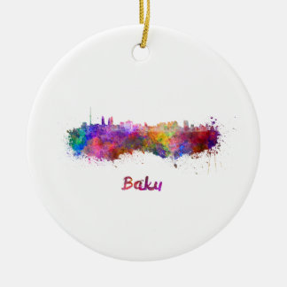Baku skyline in watercolor christmas ornament
