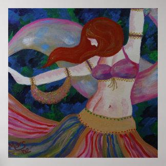 Baladi, Belly Dancer Beautiful Art Poster Print