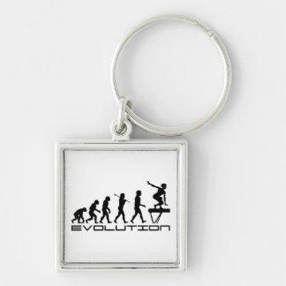 Balance Beam Gymnastics Sport Evolution Art Silver-Colored Square Key Ring