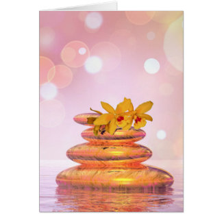 Balance pebbles with flowers card