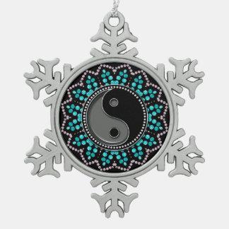 Balance YinYang Aqua Black New Age Sparkle Pewter Snowflake Decoration