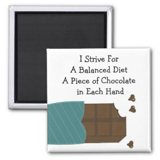 Balanced Diet - Chocolate in Each Hand Square Magnet