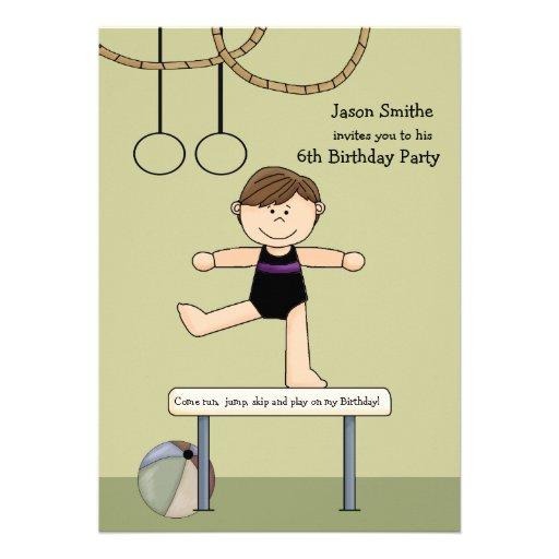 Balancing Act Gymnastics Party Invitation