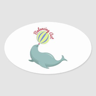 Balancing Act Oval Stickers