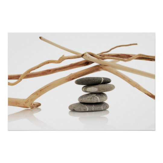 Balancing pebbles and driftwood poster