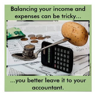 """Balancing your income and expenses can be tricky"" Poster"