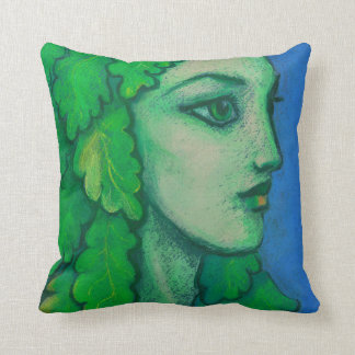 Balanis, dryad, green leaves, forest goddess, art cushion