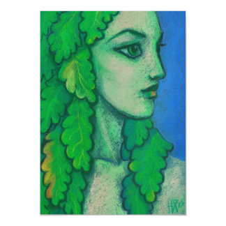 Balanis, dryad, green leaves, forest goddess, art magnetic card