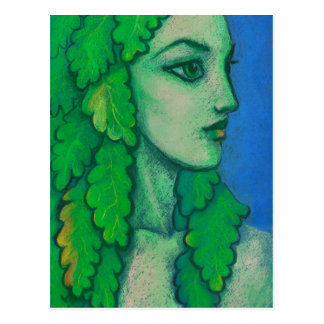 Balanis, dryad, green leaves, forest goddess, art postcard