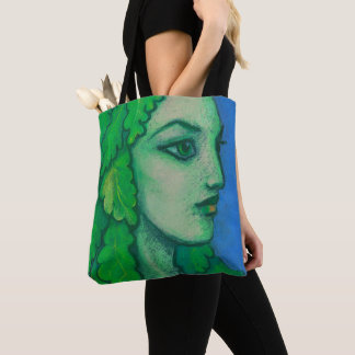 Balanis, dryad, green leaves, forest goddess, art tote bag