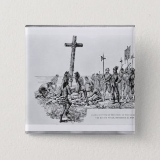 Balboa Setting up the Cross on the Shore 15 Cm Square Badge