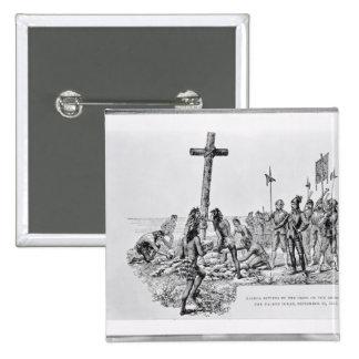 Balboa Setting up the Cross on the Shore 15 Cm Square Badge