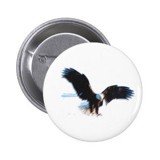 Bald American Eagle Landing 6 Cm Round Badge