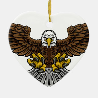 Bald American Eagle Mascot Ceramic Heart Decoration