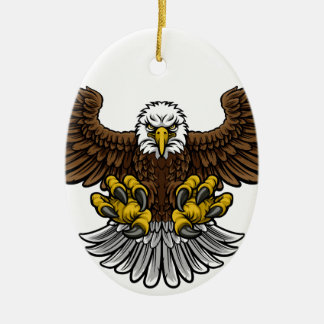 Bald American Eagle Mascot Ceramic Oval Decoration