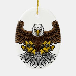 Bald American Eagle Mascot Christmas Ornament