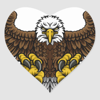 Bald American Eagle Mascot Heart Sticker