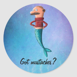 Bald and Moustached Mermaid Sticker