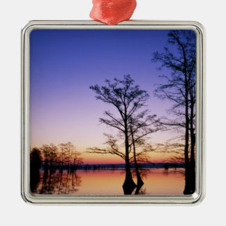 Bald cypress trees silhouetted at sunset, christmas ornament