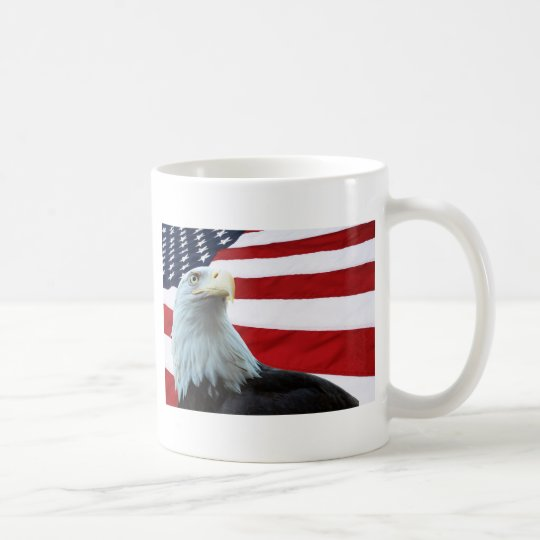 Bald Eagle Against the American Flag Mug