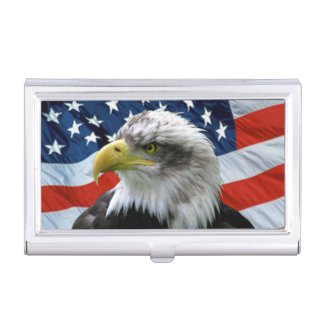 Bald Eagle American Flag Business Card Holder