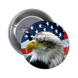 Bald Eagle American Flag Button