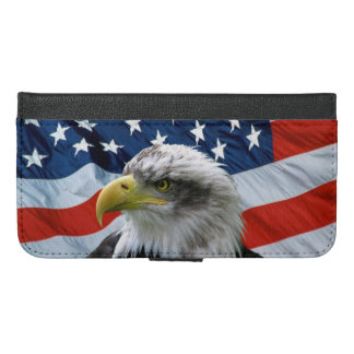 Bald Eagle American Flag iPhone 6/6s Plus Wallet Case