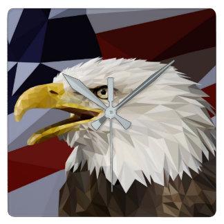 Bald Eagle American Flag Pillow Square Wall Clock