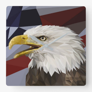Bald Eagle American Flag Pillow Wallclocks