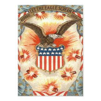 Bald Eagle American Flag Shield Fireworks 13 Cm X 18 Cm Invitation Card