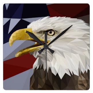 Bald Eagle American Flag Wall Clock