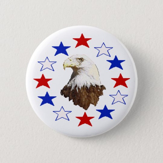 Bald Eagle American Star 6 Cm Round Badge