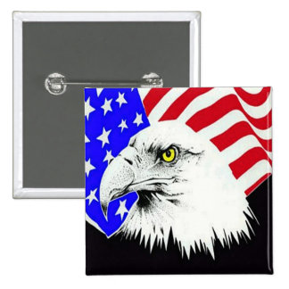 Bald Eagle and American Flag 15 Cm Square Badge