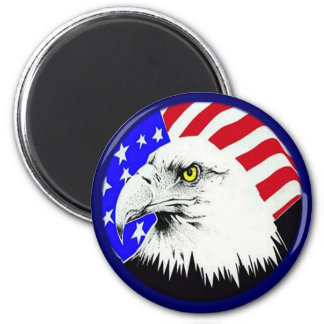 Bald Eagle and American Flag 6 Cm Round Magnet