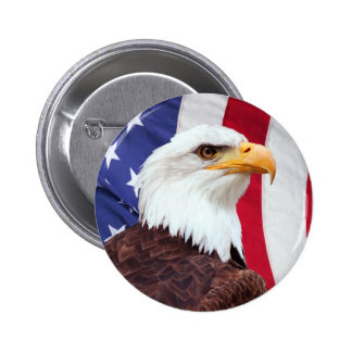 Bald Eagle and American Flag 6 Cm Round Badge