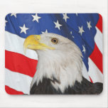 BALD EAGLE AND AMERICAN FLAG MOUSEPAD