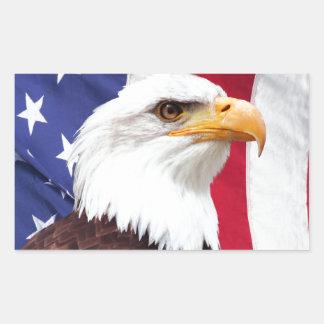 Bald Eagle and American Flag Rectangular Sticker