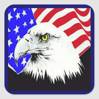 Bald Eagle and American Flag Square Sticker