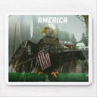 Bald Eagle and American Flag Symbolism Mouse Pad