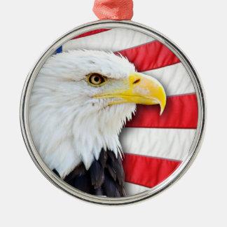 Bald Eagle and Flag Christmas Ornament
