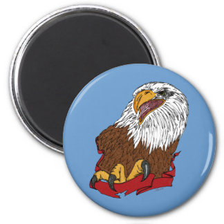 Bald Eagle and Ribbon 6 Cm Round Magnet
