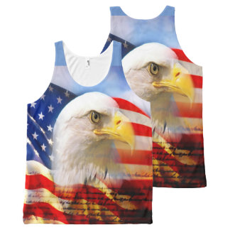 Bald Eagle and The American Flag All-Over Print Tank Top