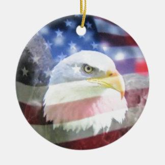 bald eagle and U.S.A. flag Christmas Ornament