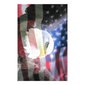 bald eagle and U S A flag Custom Stationery