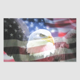 bald eagle and U.S.A. flag Rectangular Sticker