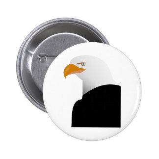 Bald eagle animation illustration 6 cm round badge